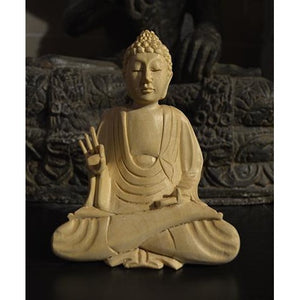 Handcarved wooden buddha - Vintage India NYC