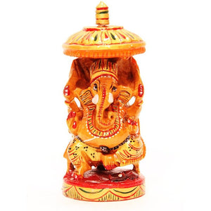 "AE Wooden Hand Painted Ganesha 4"" - Vintage India NYC"