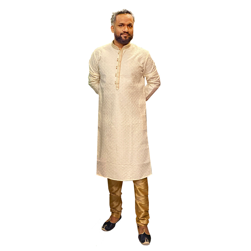 YD Cream Lucknowi Kurta - Vintage India NYC