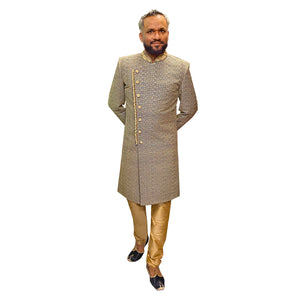 YD Navy & Gold Sherwani - Vintage India NYC