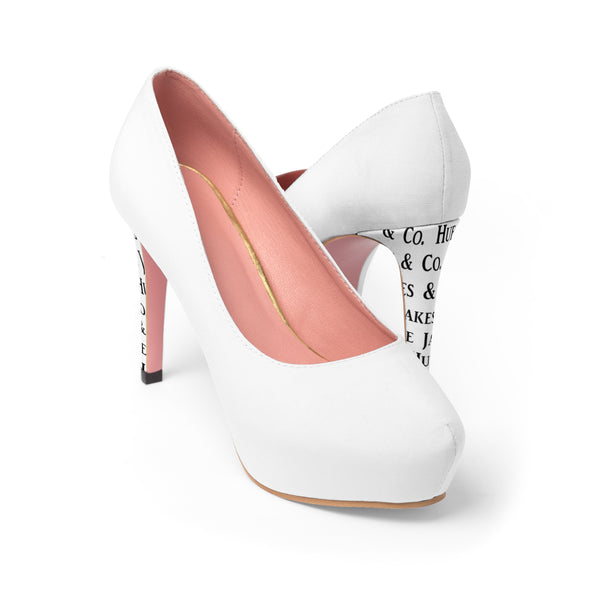White Women's Platform Heels Made By: Hue Jakes & Co.