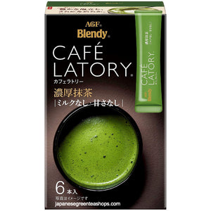(AGF) Blendy Cafe Latory Matcha (No Milk, No Sugar) 6 Sticks (45 grams)