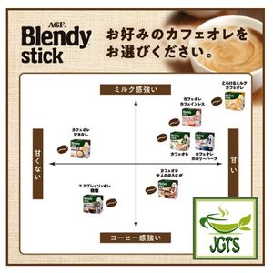 (AGF) Blendy Stick Cafe Au Lait (Original) Instant Coffee 2 sticks (21 grams) AGF Blendy Series Coffee Product Flavor Chart