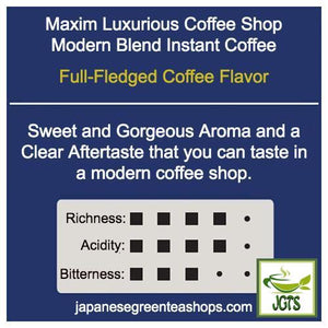 (AGF) Maxim Luxurious Coffee Shop Modern Blend Instant Coffee (80 grams, Jar) Flavor Chart
