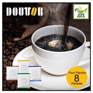 Doutor Enjoy Aroma Variety Drip Pack Ground Coffee 8 Packs (56 grams) Four Blends Eight Cups