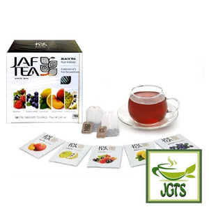 JAFTEA Black Tea Fruit Melody (75 grams) Box tea bags and cup of tea