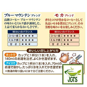 "Kataoka ASTORIA Blue Mountain & Mocha Blend Instant Coffee 6 Sticks (65.1 grams) "" Flavors Chart"
