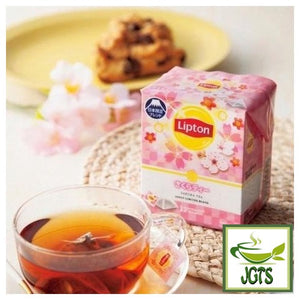 Lipton Sakura Tea Japan Limited Blend 12 Bags (19.2 grams) Package of Sakura Tea with cup of tea