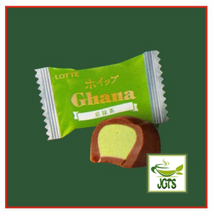 Lotte Whip Ghana Kyo Matcha (58.8 grams) Individually wrapped piece with inside matcha mousse