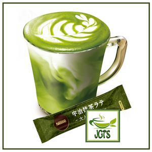 Nescafe Gold Blend Adult Reward Uji Matcha Latte 6 Sticks (60.6 grams) Uji Matcha brew in cup with one stick