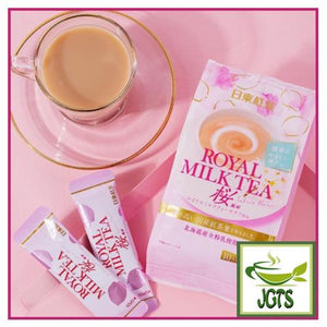 Nittoh Royal Milk Tea Sakura Flavor 10 sticks (140 grams) One stick brewed in cup with package