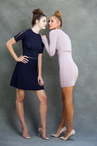 Alexa Fit and Flare Dress - VIAVAI FASHION  Blond and brunette models in nude heels,  with their hair up  in messy buns wearing knit dresses in Navy and Blush color