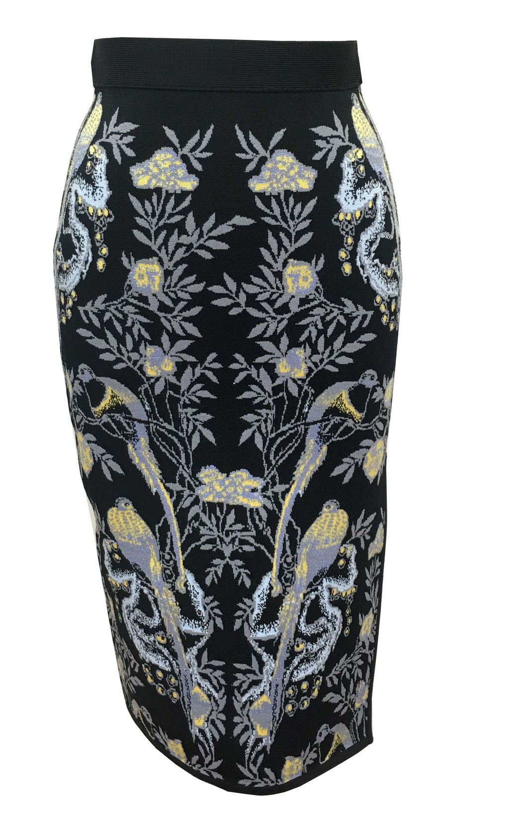 Anna Bird Jacquard Skirt in Black