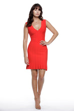 Valentina V neck dress in Tomato Red - VIAVAI FASHION