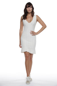Valentina  V neck dress in Off White - VIAVAI FASHION