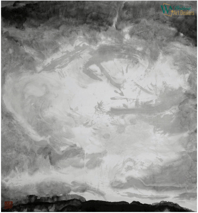 Heaven - The Shangri - La Series - chinese ink ofn rice paper by artist Sun Guangyi represented by WorldwideArtDealers.com