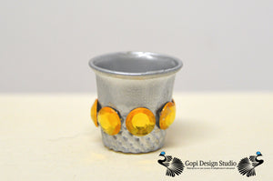 Deities Small Water Cup, Silver Metal Lota used for fill water for Puja and Aarti or for Your Krishna Doll