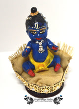Load image into Gallery viewer, SOLD: Custom Handmade OOAK Blue Krishna Baby Doll with Gold Custom Pouf Throne