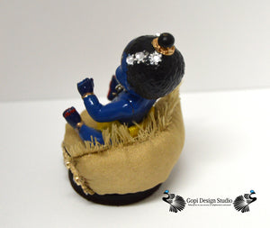 SOLD: Custom Handmade OOAK Blue Krishna Baby Doll with Gold Custom Pouf Throne