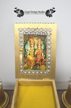 Load image into Gallery viewer, Custom Handmade OOAK Gold Krishna Home Temple, Pooja , Altar, Lakshmi-Narayana Puja