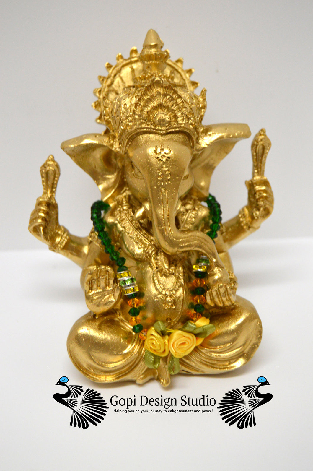 Ganesha Custom Handmade One of A Kind Gold Hindu God Statue With Custom Crystal Garland