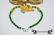 Load image into Gallery viewer, Ganesha Custom Handmade One of A Kind Gold Hindu God Statue With Custom Crystal Garland