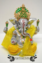 Load image into Gallery viewer, Ganesha Custom Handmade One of A Kind Hindu God Silver Statue With Shawl
