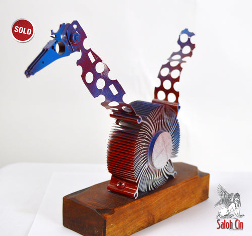 SOLD The Wound-Up Woodpecker- Abstract Table Top Sculpture by Saloh Cin