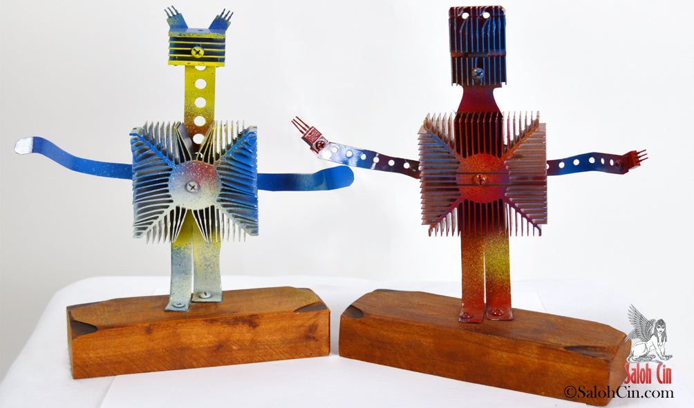Rudy and Margo - The Dancing Robots - Tabletop Sculptures by Saloh Cin