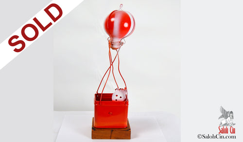 Man in The Hot Air Balloon - Sculpture by Saloh Cin SOLD