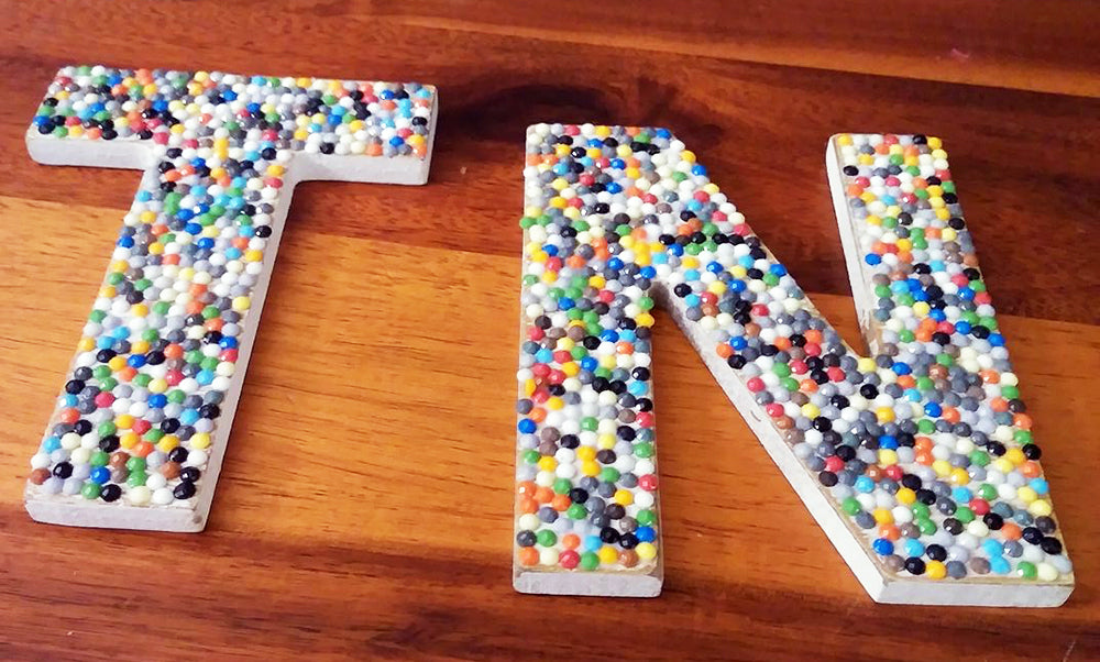 Barbara Linville wooden letters decorated with diamonds