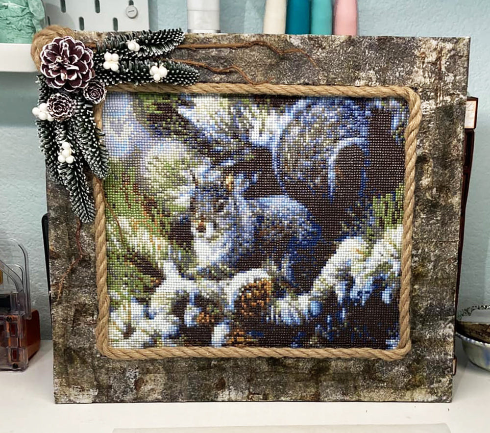 Squirrel Diamond Painting With Rustic Frame