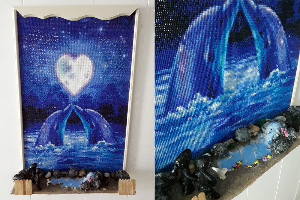 Dolphin Diamond Painting With Real Beach Display