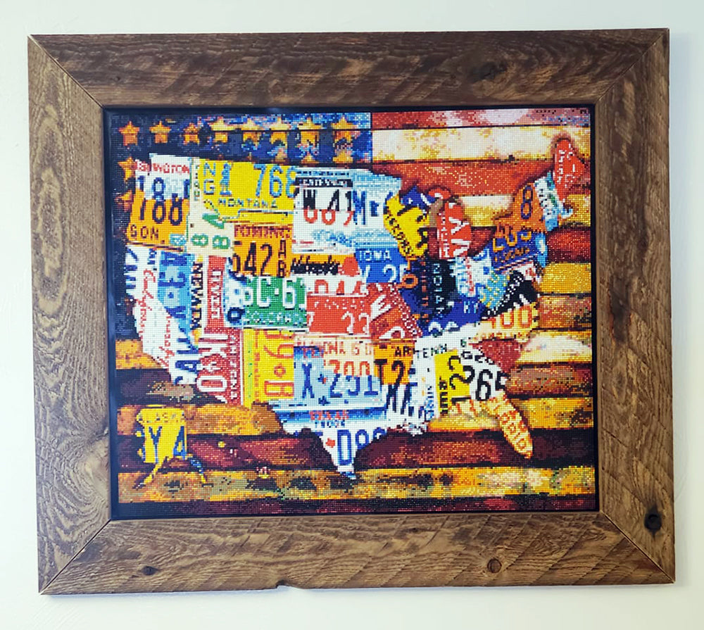 USA Diamond Painting With Homemade Wooden Frame