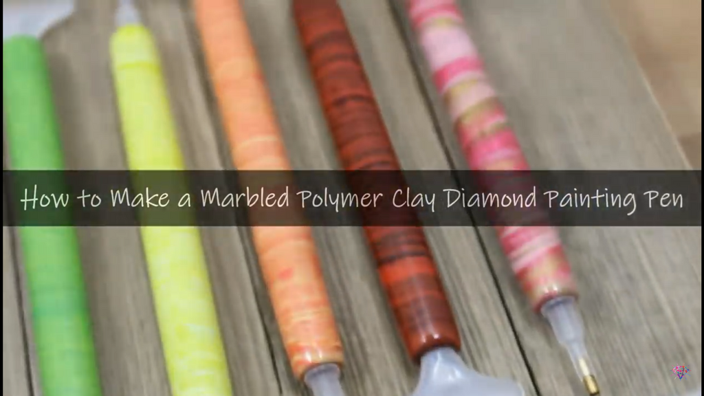 Collection of customized polymer clay diamond painting pens