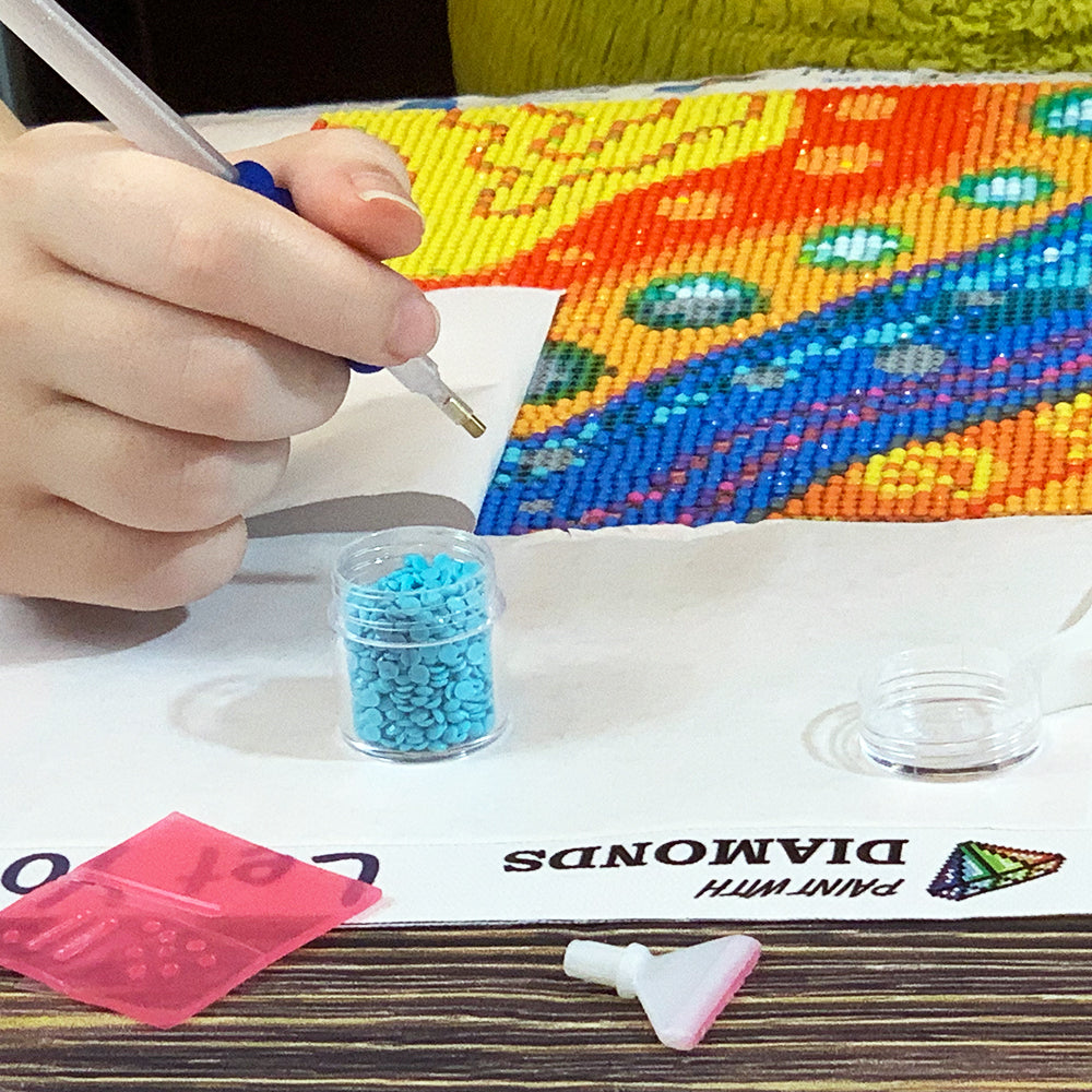 Paint with diamonds in a well-lit area