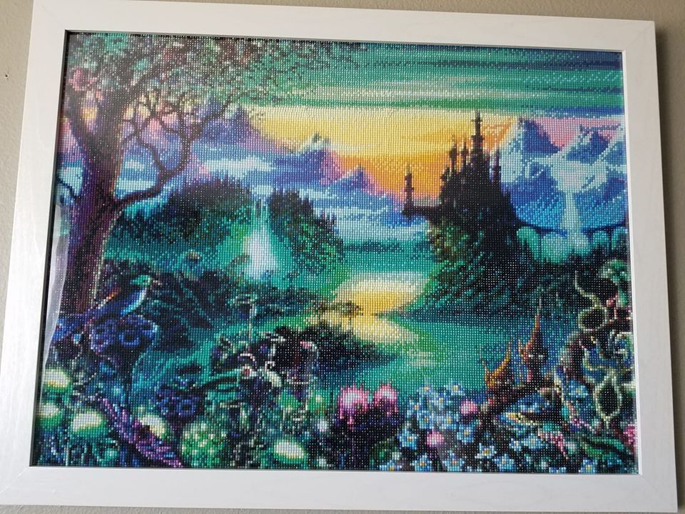 Fantastical diamond painting depicting a brightly colored landscape. Image from Jennifer Drysdale Wolcott in the Painting With Diamonds Support Group