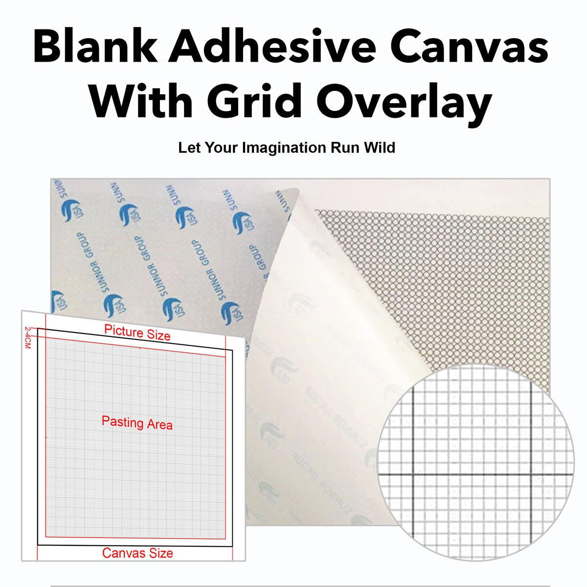Freestyle Blank Canvas With Adhesive & Printed Grid
