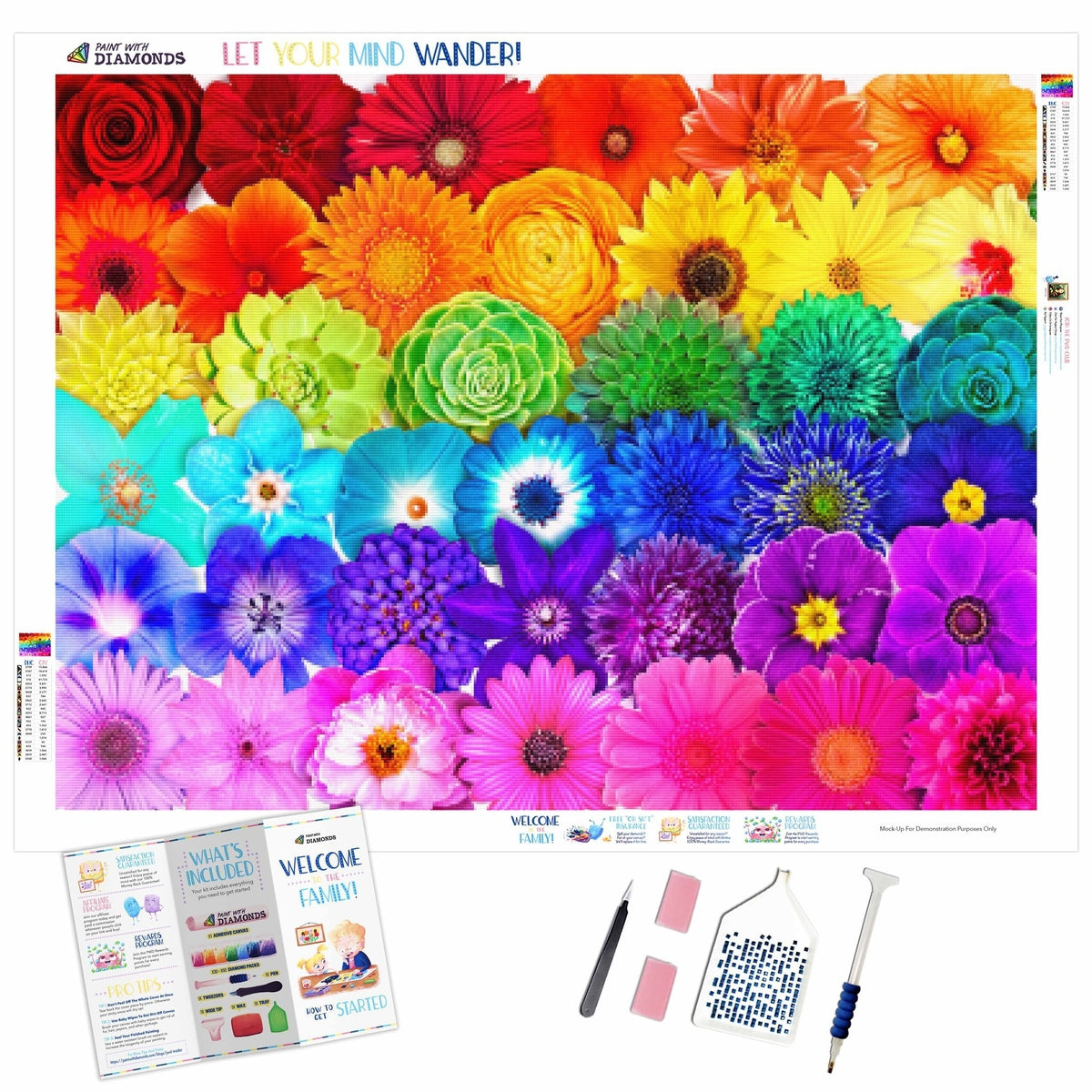 Insta Rainbow Flower Power Rows (2-4 Day Shipping)
