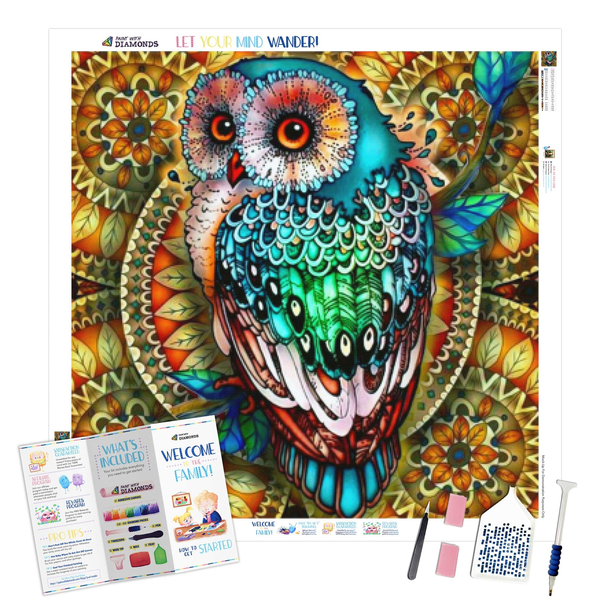 Mandala Berry Branch Owl - Ships From US