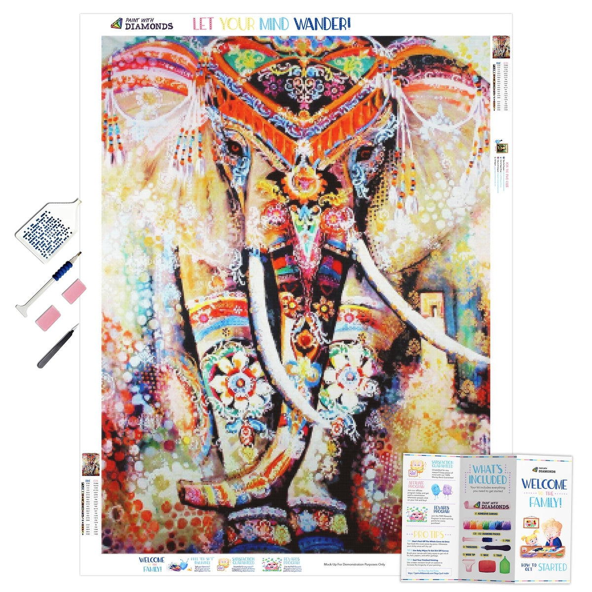 Rainbow Elephant Mandala - Ships From US