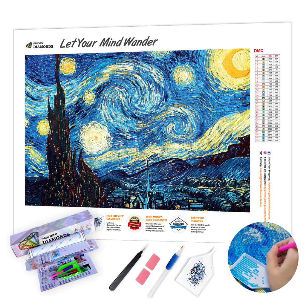 *Ships From US* - Starry Night by Van Gogh XL - 60x40cm