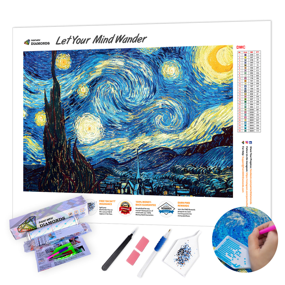 Starry Night by Van Gogh - Ships From US - 60x40cm