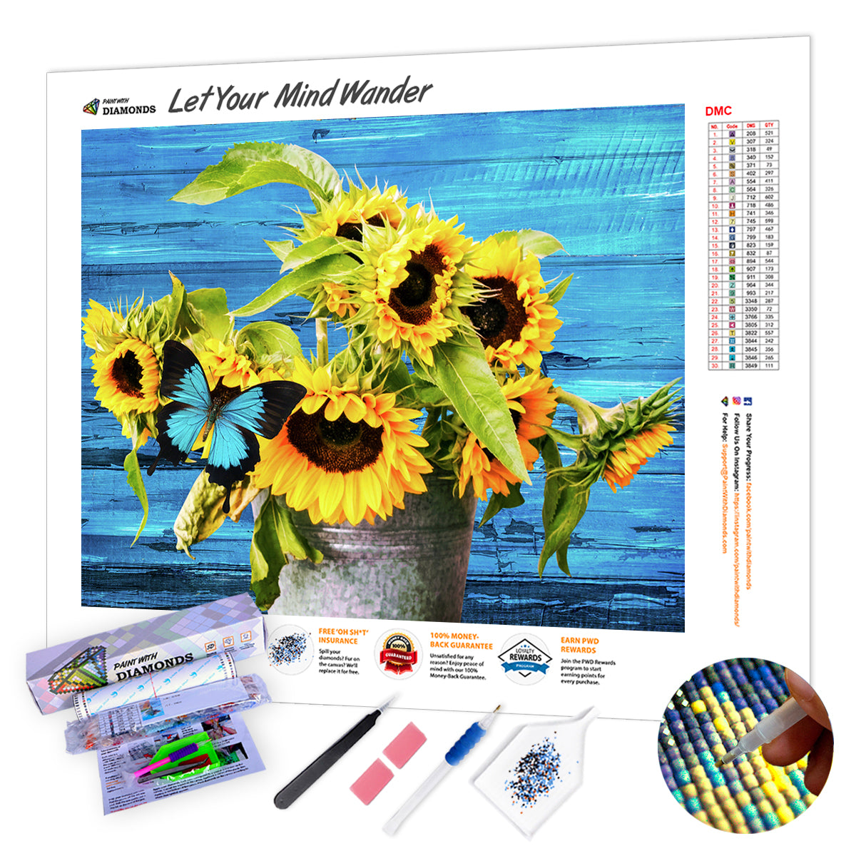 Sunflowers With Blue Butterfly