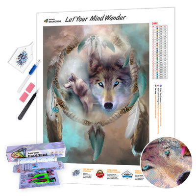 *Ships From US* - Wolf Dreams Of Peace XL - 40x60cm - Plus FREE Premium Double-Sided Pen