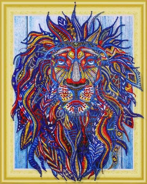 Safari Diamond Painting Kit - Almighty Lion (Crystal Diamonds - Special Shapes)-40x50cm- - Paint With Diamonds