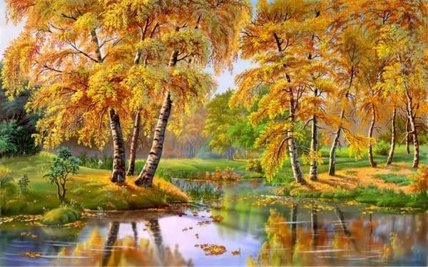 Landscape Diamond Painting Kit - Autumn Creek-Square 20x30cm- - Paint With Diamonds