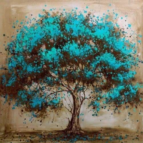 Tree Diamond Painting Kit - Azure Blossom-Square 20x20cm- - Paint With Diamonds