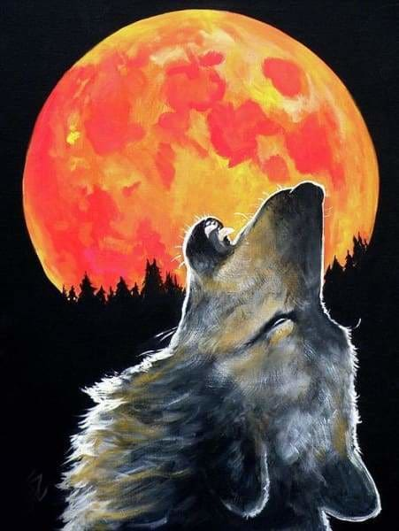 Moon Diamond Painting Kit - Blood Moon Wolf-Square 15x20cm- - Paint With Diamonds