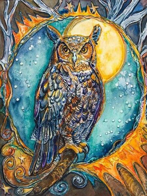 Owl Diamond Painting Kit - Brother Owl-Square 15x20cm- - Paint With Diamonds